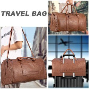 Oversized Travel Duffel Bag, Brown leather